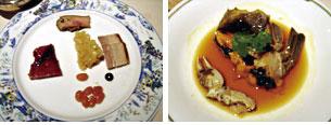 前菜と上海蟹の紹興酒漬け